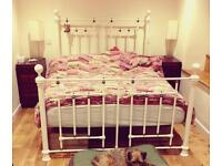 Lovely cream, metal, double bed frame
