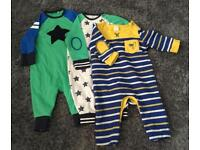 3 long sleeved baby grows. Size 3-6 months