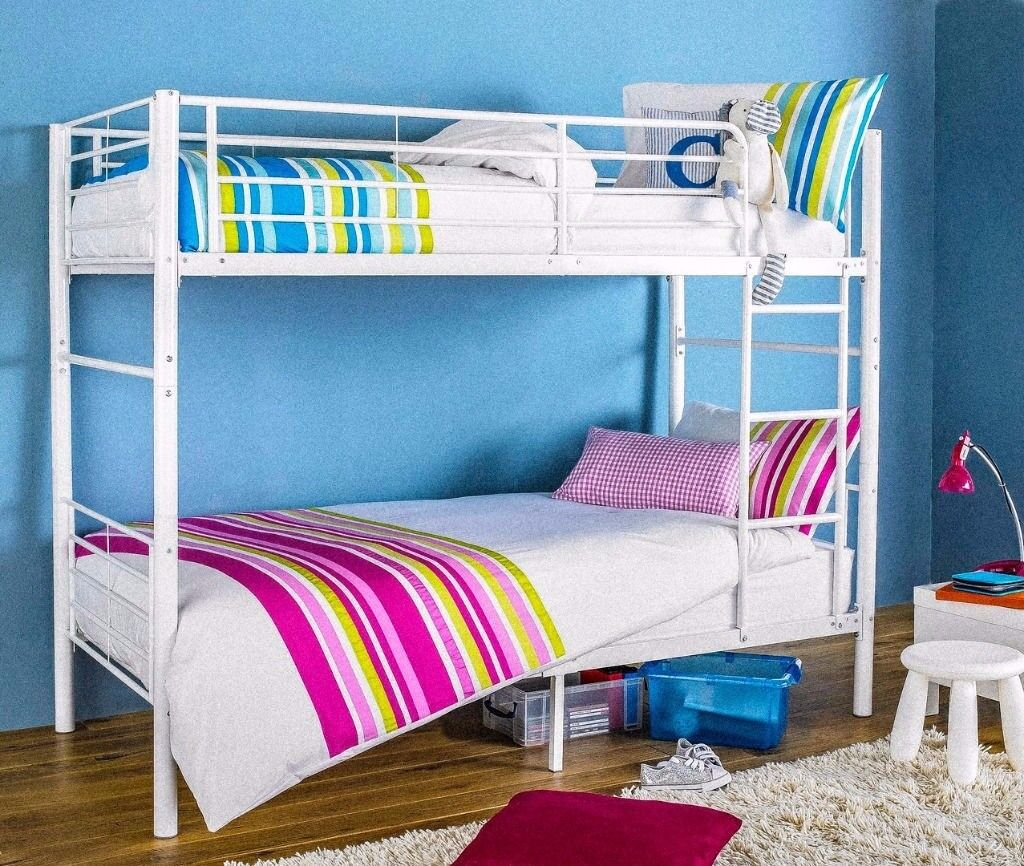 🔥70% Off🔥 New Single Metal Bunk Bed with 2 x 9 inch Thick Deep Quilted Semi Orthopedic Mattresses