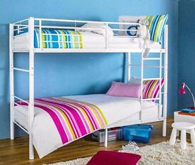 WHITE / SILVER - BRAND NEW METAL BUNK BED - PERFECT FOR CHILDREN AND SUITABLE FOR ADULTS - Mattress