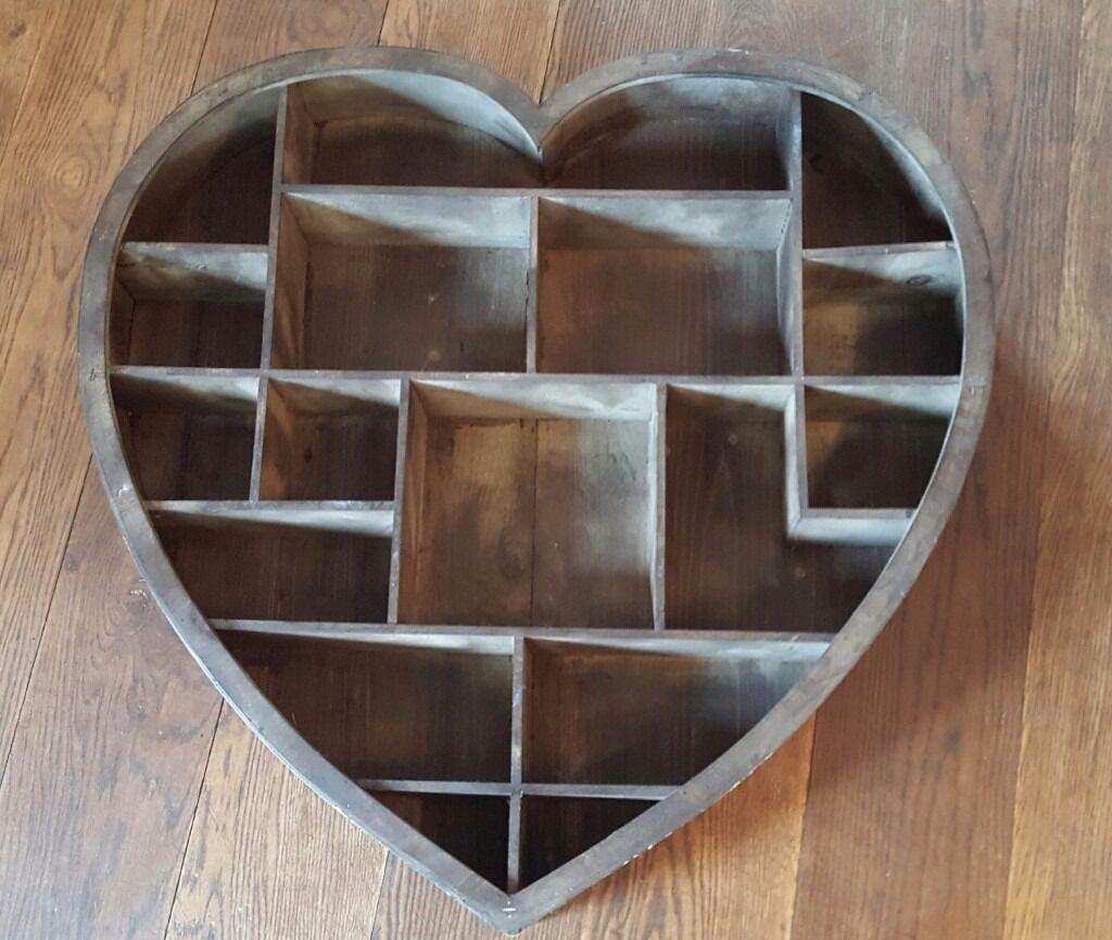 Wooden Heart Shaped Shelf Unit Ex Range Lovely For