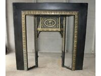 Antique Fire Surround with Tiles: Cast Brass (not Iron) to suit Gas Insert