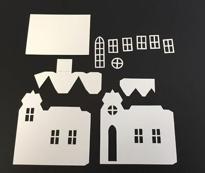 Tim Holtz Village Die Cuts * Village Brownstone * White Cardstock * One Set