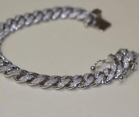 925 Sterling Silver Cuban Bracelet with CZ Stones