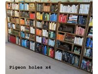 PIGEON HOLES run x4 mix FREE DELIVERY BRIGHTON industrial rustic reclaimed wood bookcase gplanera