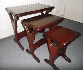 Mahogany Nest of 3 Tables