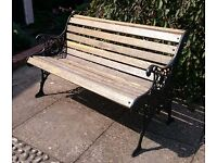 Cast iron bench with solid oak slats