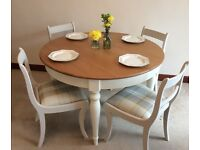 Set of 4 Dining room chairs - Cream with tartan fabric.