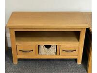 Oak & Seagrass TV unit with storage drawers