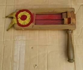 Vintage wooden football rattle /clacker