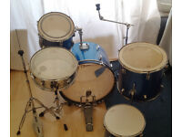 5 piece drum kit, unbranded w/some hardware & silencer pads