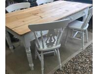 Laura Ashley painted antique Farmhouse table and chairs