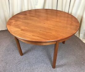 Teak Dining Table 1960's Round Extendible Table Retro Vintage