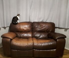 3 & 2 brown leather reclining sofas