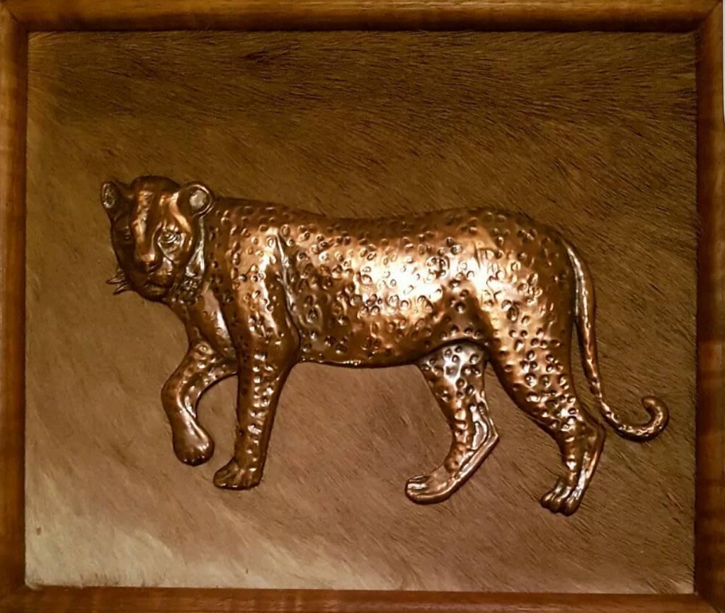 Genuine gameskin copper leopard picture from Zimbabwe