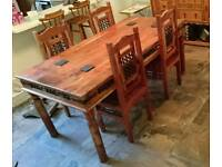 SOLID WOOD INDIAN PINE / SHEESHAM DINING TABLE AND CHAIRS