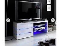 White LED TV stand with lights