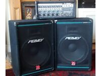 "Peavey XR 560 PA amp and two Peavey Eurosys.3. ""15"" cabs."