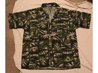 Green Patterned Thai Silk Shirt 'Apple' XL