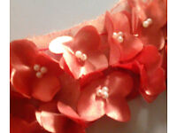 New 50x40mm Coral Orange Beaded Flower Sew On Appliques Motifs.