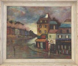 Framed painting acrylic / oil on board / wood street scene