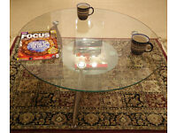 Round Tempered Glass Table (900mm Diameter x 360mm Height x 10mm Thickness).