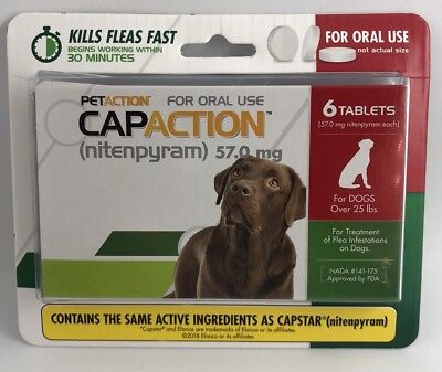 PetAction CapAction for Dogs over 25lbs Flea Treat(compare to Capstar)6Tablets