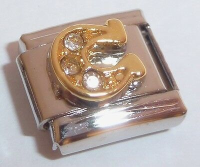 Horseshoe Italian Charm - HORSESHOE w/ CLEAR GEMS 9mm Italian Charm fits Classic Bracelets GOOD LUCK LUCKY