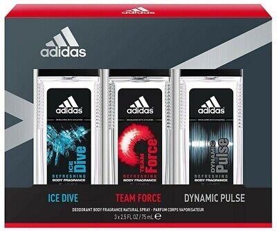 Adidas Ice Dive Team Force and Dynamic Pulse Body Fragrance 3pc Gift Set for Men Adidas Gift Sets