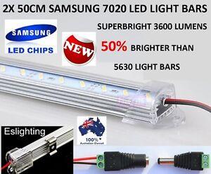 2X 50CM 7020 12V LED STRIP LIGHT BARS CAMPING CARAVAN CAMPING BOAT TENT AWNING