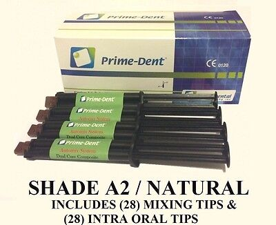 Prime Dent Luting Cement 4 Syringe Kit With 20 Tips Dual-cure Automix - A2
