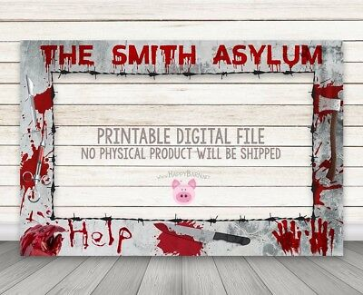 PRINTABLE DIGITAL DOWNLOAD Halloween photo booth frame Asylum Selfie Photo Frame - Printable Halloween Photo Frame