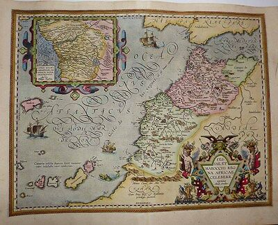 1603 Ortelius Map MOROCCO Flamboyantly Decorative + CONGO Inset, Fine Example!