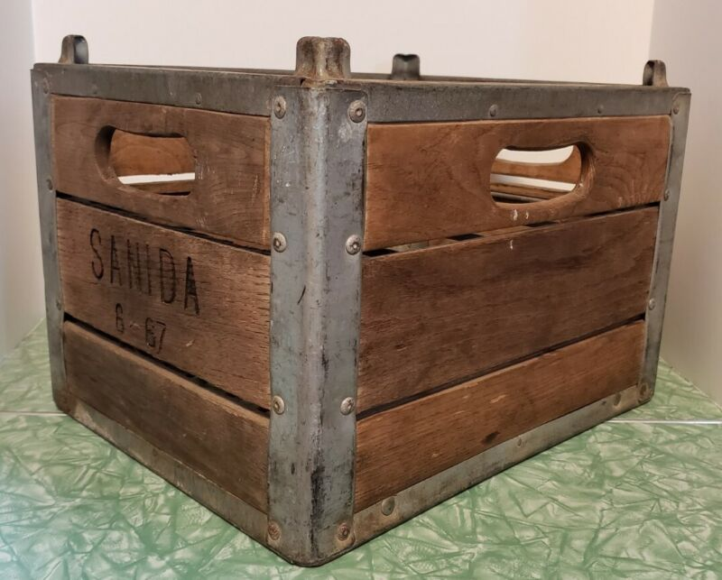 Vintage Sanida Wooden Wine Bottle Crate August 1967