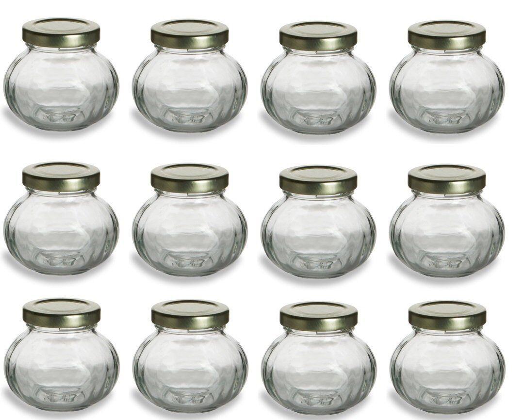 12 pcs, 4 oz Round Glass Jars for Jam, Honey, Wedding Favors