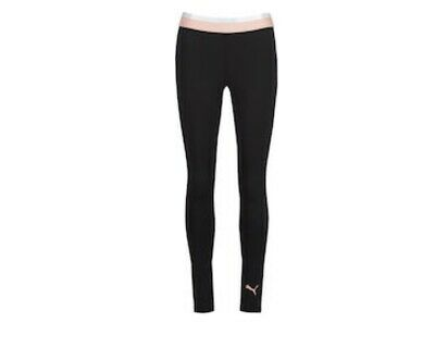 puma womens soft sport Leggings in black & peach