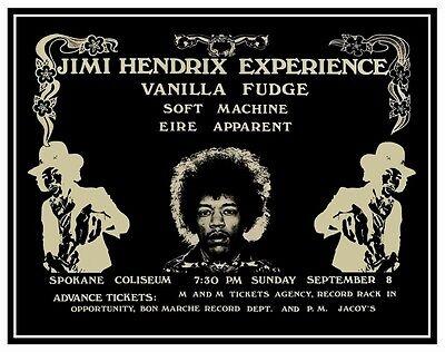 Jimi Hendrix Experience POSTER Vanilla Fudge *LARGE* Soft Machine Live SPOKANE