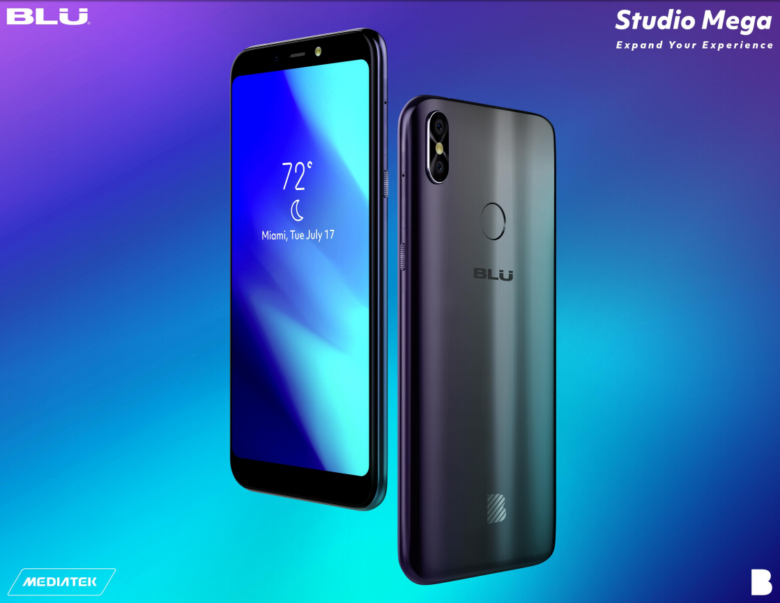 """Android Phone - Blu Studio Mega 2018 """"Blue color"""" Unlocked Cell Phone Android V.8.1 Oreo 6.0''"""