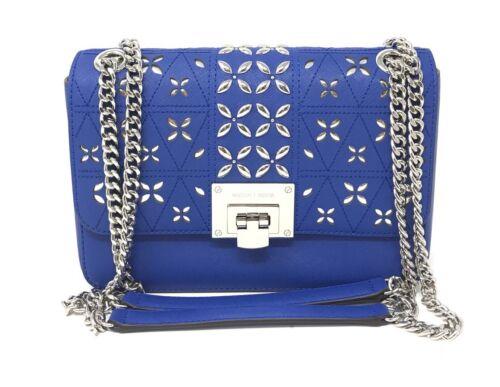 Michael Kors Tina Stud Medium Shoulder Flap Bag Chain Crossbody Electric Blue