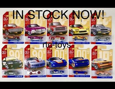 Hot Wheels 2018 50 Years Throwback Set Of 10 Camaro,'83 Silverado,Mustang,50th