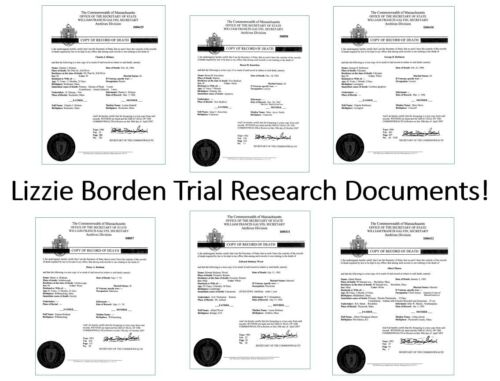 Lizzie Borden Trial DEATH CERTIFICATES 6 Key Players, Judge, Attorney, Witness