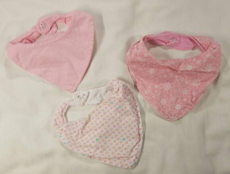 Newborn Girl Handkerchief Style Bibs - Pink - Set Of 3