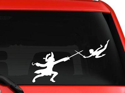 Peter Pan and Captain Hook cartoon silhouette car truck SUV window laptop wall