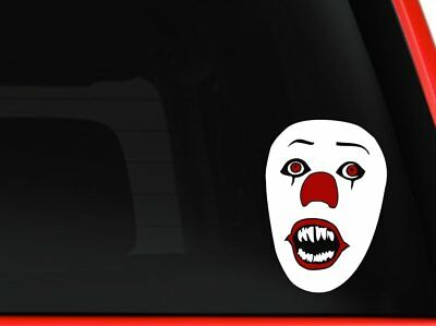 Scary Halloween Cars (Clown's Mask from the Movie It by Stephen King Scary halloween decal sticker)
