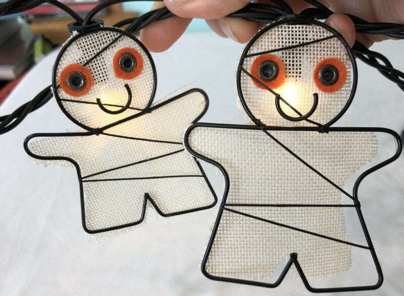 Rustic Halloween Wire Mummy Party Patio String Lights Cute 10ft