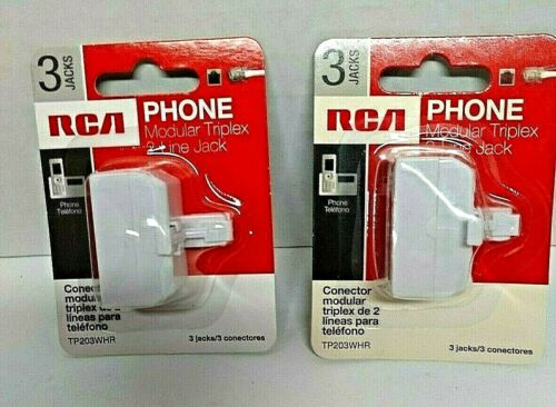 NEW ~ Set of 2 ~ RCA TP203WHR Phone Modular Triplex 3-Line Jack Connector White