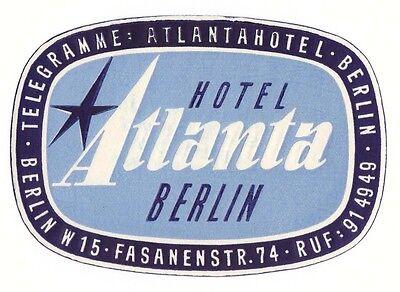 Hotel Atlanta BERLIN luggage label Kofferaufkleber    x0358