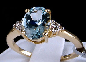 1.16cts. Genuine Aquamarine Solitaire with Diamonds 10k Solid Gold Ring, Size 7