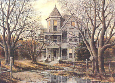 Victorian Haunted Halloween House Witch MINT Matted Print Hand Signed by Souders