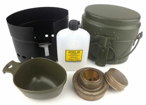 Original Swedish military ALUMINIUM TRANGIA mess kit with mug - FULL SET - NEW